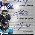 2013-Panini-Momentum-Football-Triple-Autograph-Manning-Taylor-Woodson